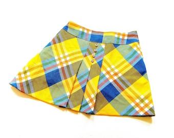 70s VinTage girLs Skirt size 5-6Y tarTan Retro Rock 116 hipSter