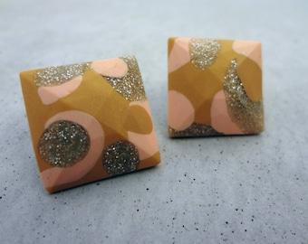 Cube Studs - Mustard / Polymer Clay Earrings / Stud Earrings