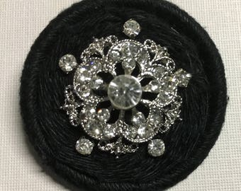 Dorset Button Brooch - black and bling