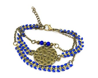 "Multi-bracelet ranges glazed ""bronze/electric blue"" ""chic and trendy ear chain"