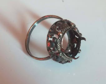Vintage sterling silver ring setting, 875, size 8, USSR