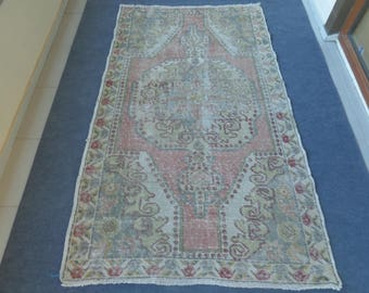 Faded Turkish Rug Pastel Oushak Rug Anatolian Carpet Rug Turkish Woven Rug Muted Color Antique Rug 7.5x4.4 ft