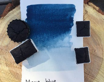 Maya Blue. Half pan, full pan or bottle cap of handmade watercolor paint