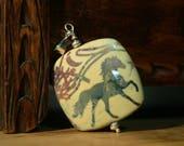 Silver, cantering, horse, pendant, Handmade, Sterling Silver, pendant, using, lampwork, bead