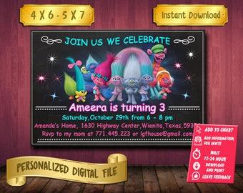 Trolls / Trolls Invitation / Trolls Birthday / Trolls Party / Trolls Printable / Trolls Invite / Trolls Birthday Invitation / Trolls Invite