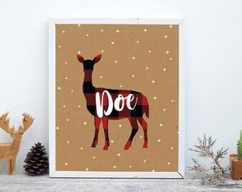 Doe Print, Nursery Animal Wall Art, Woodland Nursery Decor, Rustic Decor, Cabin Decor, Printable Poster Instant Download