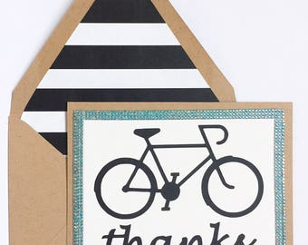 Bicycle Thank You card // Thanks //custom and handmade to order