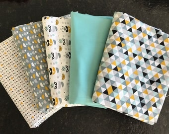 LOT 5 Coupons fabric patchwork Mint and curry 30 x 35 cm