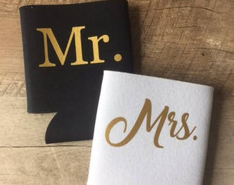Mr. and Mrs. Can Coolers - Mr and Mrs - Custom Can Coolers - Mr & Mrs Can Coolers - Honeymoon Can Coolers - Honeymoon - Bride and Groom