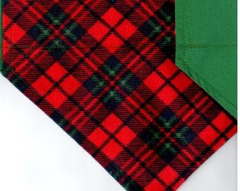 Red/Green Plaid Flannel Bandana | Dog Bandana | Puppy Bandana | Over the Collar Dog Bandanas | Custom Dog Bandana