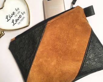 Handmade Stripe Suede and Ostrich clutch purse