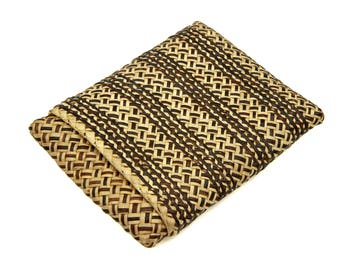 Woven Straw Wallet, Antique 1910s Accessories, Handmade Woven Cigarette Case, Vegan Wallet, Natural Wicker Eco Wallet, Filipino Rattan Case