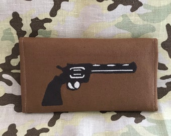 "The Walking Dead Rick Grimes ""We're not too far gone"" Quote, Colt Python Embroidered Wallet"