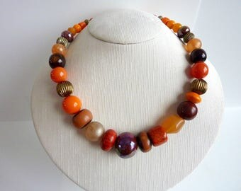 ethnic necklace style orange and Brown