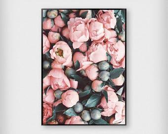 Peonies Print | Botanical | White | Peony - Flower - Poster