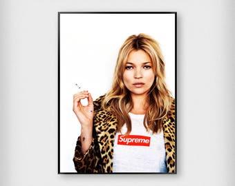 Kate Moss Supreme Print | Fashion | Black - White | Photography - Model - Poster
