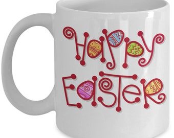 Happy Easter 11 Ounce Ceramic Easter Bunny Coffee Mug/Cup