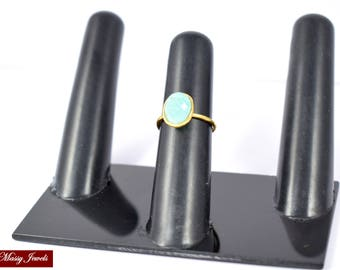 Amazonite Ring , oval ring , gold plated ,adjustable ring ,stacking ring,gemstone ring,green color ring,natural stone ring ,50% off on sale