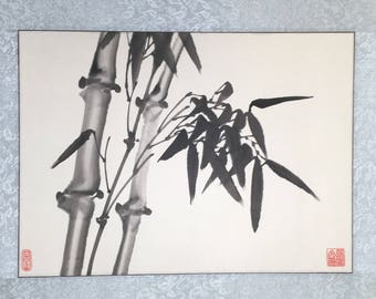 Bamboo // Mounted silk background // Home decor // Original vintage artwork // 国画 // Chinese painting // Asian art // Japanese // Watercolor