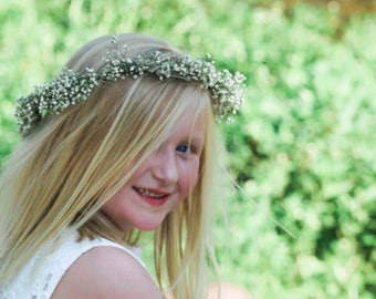 REAL BABY'S Breath Floral Crown Halo or comb | Dried Babies Breath | Wedding Crown | Babys Breath Crown | Wedding Hairpiece