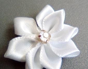 White satin rhinestone flower applique