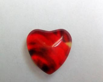 Small glass heart printed flower 8x8mm