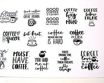 Planner Stickers - Happy Planner Stickers - Day Designer - Functional Stickers - Phrase Stickers - Coffee Phrase Stickers