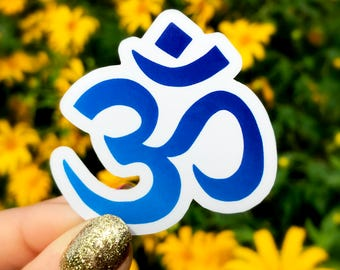 Vinyl Sticker - Blue Om Symbol - Buddhist Symbol - Hippie / Boho / New Age Sticker - Perfect size for phone, water bottle, laptop...