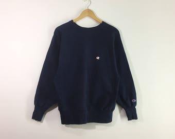 Rare!! Vintage champion sweatshirt pullover jumper embroidery logo blue colour
