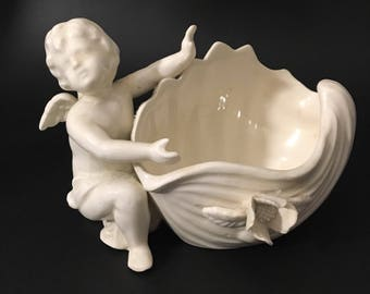 Porcelain Angel withFlowered Bowl /soap dish/Jewelry dish.