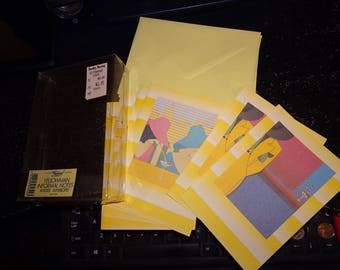 IMPOSSIBLE 2 Find Waldorf Brand NOTE CARD Set Sold by Tuesday Morning 1970's * Yellowman + 1 other Retro design! * 6 total cards + envelopes
