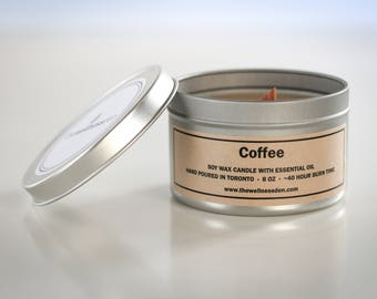 Coffee Organic Candle - Soy Wax + Essential Oil + Wood Wick - 8oz