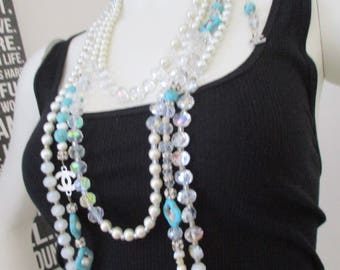 Designer Inspired long turquoise, fresh water pearl, rhinestone & glass beaded necklace