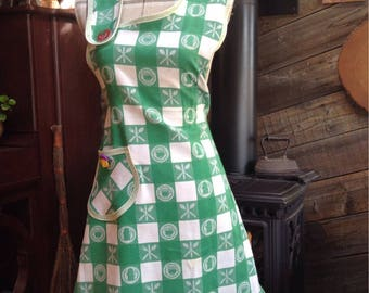 Hardworking Upcycled tablecloth apron,