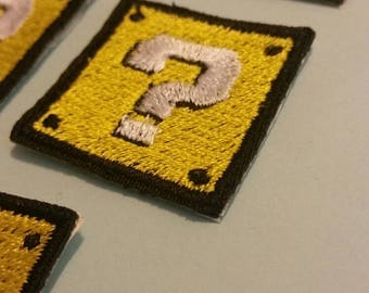 """Mini Gaming Inspired Iron On Embroidery Patches - 1""""x1"""" - Mushrooms - Question Block - Bricks - Blocks - Old School Themes"""