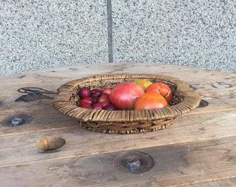 Vintage Wicker Basket, Woven Basket, Retro Basket, Fruit Basket, Willow Basket, Decorative Basket, Vegetable Basket, Old Wicker Basket
