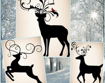 Christmas Reindeer SVG - Reindeer SVG files - Reindeer Silhouette SVG Files for Cricut and other cutting machines