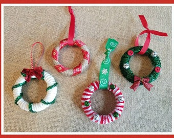 Mason Jar lid Christmas tree ornament set