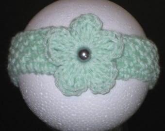 Newborn Flower Headband, Newborn Mint Green Headband, Baby Headband, Infant headband, Photo Prop Headband