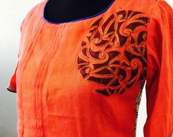 Orange linen Kurti/ Women's Indian Wear/Stylish Kurti/ Cotton Kurta