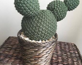 READY TO SHIP Knit Bobble Cactus in Wicker Pot