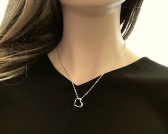 Heart Necklace, Sterling Silver. The Perfect Gift. Dainty Open Floating Heart Charm in Sterling Silver. 925 Sterling Silver.