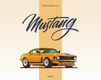 Ford Mustang Boss 302   1970   Car Poster