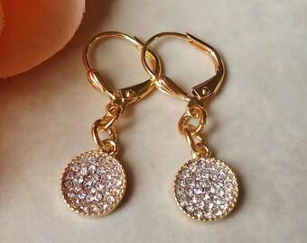 Tiny Crystal Druzy Earrings.Jeweled.Rhinestone.Round Drop.Dainty.Gold.Bridal.Bridesmaid.Small.White.Simple.Diamond.Statement.Handmade.