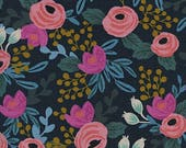 Cotton + Steel Menagerie - Rosa Navy Linen Canvas - Rifle Paper Co Fabric - 8012-22 - Floral Home Decor Fabric - Canvas Upholstery Fabric