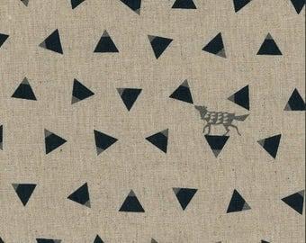 Japanese Linen Canvas - Kokka Fabric - Echino 2018 Triangle in Natural - Metallic Canvas Fabric - Half Yard (about 50cm) Pre Cut