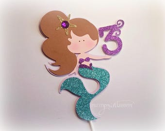 Mermaid cake topper, under the sea cake topper, mermaid decoration, purple mermaid, fiesta de sirenas, mermaid tails.