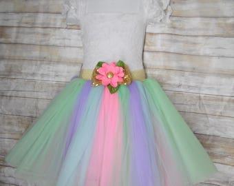 Knee length Children's Colorful Pastel tulle skirt, (pink, lavender, green and aqua) tutu skirt, wedding skirts,