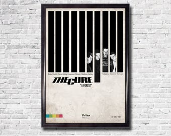 """THE CURE - A Forest, 11"""" x 16"""", Art Print, Minimalist, Graphics, Robert Smith, Black and White, Music Poster"""