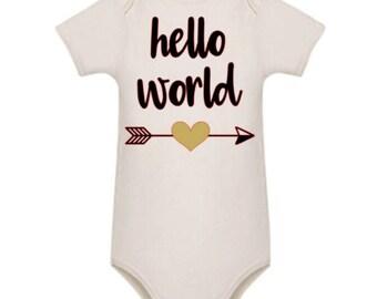 Hello World - white cotton bodysuit - romper